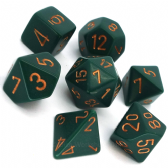 Green & Gold Opaque Polyhedral 7 Dice Set